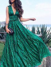 Vestidos largos Sin mangas Vestido largo de gasa con cuello en V verde