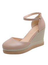 Pink Wedge Shoes Women Round Toe Ankle Strap Plus Size Pink Espadrilles