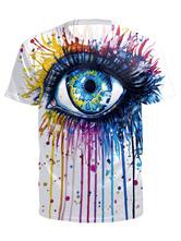 Camisetas para hombre Impreso en 3D de secado rápido con cuello redondo de manga corta Top blanco para el verano