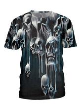 Hombres Camisetas Negro Jewel Neck Skeleton Impreso Camiseta de manga corta