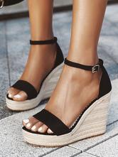 Black Espadrilles Women's Wedge Sandals Platform Heels Sandals Open Toe Buckle Detail Ankle Strap Shoes