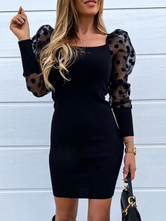 Bodycon Dresses Black Square Neck Casual Long Sleeves Pencil Dress