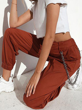 Pants Green Chains Polyester Natural Waist Trousers