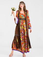 1970s, retro, trajes, mulheres, café, marrom, franja, impressão, hippies, traje