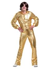 Halloween Kostüm 1970er Jahre Retro Kostüme Herren Blond Metallic Langarm Bomberjacke Mit Flare Pant Disco Kostüm