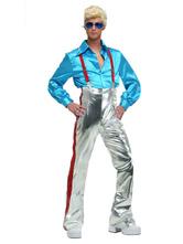 1970s, retro, trajes, azul, mangas compridas, camisa, metálico, pant, homens, discoteca, trajes