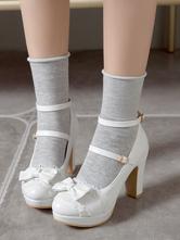 Sweet Lolita Footwear Bow Lace PU Leather Platform Chunky Heel Lolita Shoes
