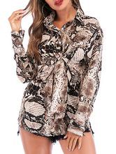 Camicia con stampa serpente per donna Top a maniche lunghe casual in pitone