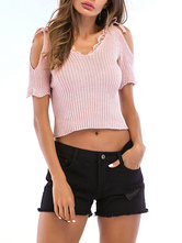 Knitted Crop Top Cold Shoulder Lace Trim V Neck Short Sleeves Casual Tops