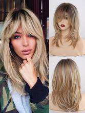 Длинный парик для женщин, светло-золотистый, прямой вискозный шик, короткие синтетические парики