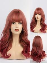 Parrucca lunga per donna bordeaux con frange Rayon casual arruffati lunghe parrucche sintetiche