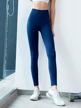 Pants Light Sky Blue Polyester Natural Waist Trousers Yoga Pants