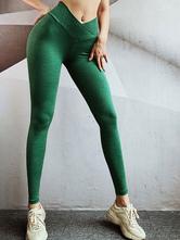 Pantalones Pantalones de cintura de poliéster verde oscuro Pantalones de yoga