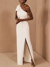 Simple Wedding Dress Sheath One Shoulder Sleeveless Bows Bridal Gowns