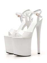 Tacones Pleaser Sexy Sandalias de tacón alto de 8 pulgadas Zapatos de stripper de punta abierta de charol blanco