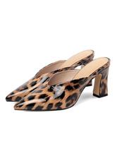 Запатентованные остроконечные туфли на толстом каблуке с леопардовым принтом зебры