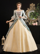 Victorian Dress Costumes Women's Rococo Floral Print trumpet Short Sleeves Square Neckline Marie Antoinette Costume Masquerade Ball Gown Dress