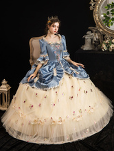 Victorian Dress Costumes Women's Rococo Floral Print trumpet Short Sleeves Square Neckline Champagne Marie Antoinette Costume Masquerade Ball Gown Dress
