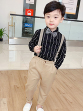 Ring Bearer Suits Polyester Cotton Long Sleeves Shirt Black Formal Party Suits