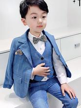 Ringträger-Anzüge Polyester-Baumwolle Langarm-Mantel Hosen Weste Baby Blue Wedding Boy Anzüge