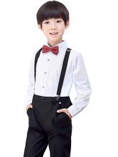 Ring Bearer Suits Polyester Cotton Long Sleeves Pants Shirt Cravat Black Wedding Boy Suits