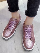 Mocassins de pano de lantejoulas rosa Toe Round Chic sapatos casuais modernos