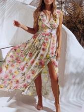 Robe maxi fleurie sans manches col en V Split robe d'été en mousseline de soie