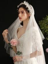 Wedding Veils One-Tier Lace Lace Lace Applique Edge Classic Bridal Veil