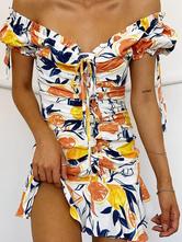 Летнее платье с леопардовым принтом и открытыми плечами