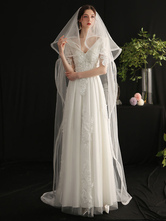 Wedding Veil Two-Tier Ribbons Tulle Ribbon Edge Classic Bridal Veils