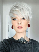 Parrucche per capelli umani Parrucche corte anteriori in pizzo