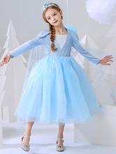 Abiti Pulsanti Flower Girl Dresses congelata Elsa Piazza collo maniche lunghe bambini party