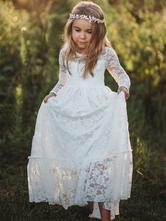 Flower Girl Dresses Jewel collo maniche lunghe in pizzo bambini abiti da festa sociale