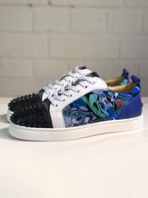 Мужские кроссовки Spike 2021 Обувь синего цвета с круглыми носками Заклепки на шнуровке Разноцветные повседневные ботинки Skate