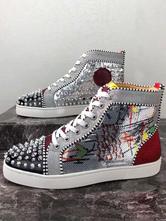 Мужские кроссовки Spike 2021 из серебряной воловьей кожи с круглым носком и шнуровкой с цветными блоками