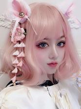 Doce Lolita peruca suave rosa curto despenteado Lolita perucas de cabelo