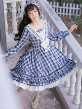 Sailor Lolita OP Dress Strawberry Witch Plaid Bows Lolita One Piece Dresses