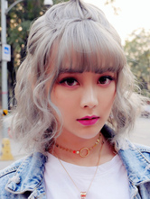 Sweet Lolita Wigs Gray Short Lolita Hair Wigs With See Through Bangs