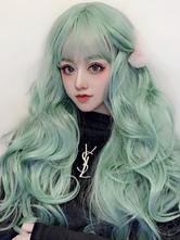 Süße Lolita Perücke Lange Minze Grün Lockige Lolita Haar Perücken