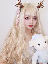 Lolita doce perucas loira longa encaracolado Lolita perucas de cabelo
