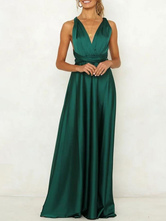 Robe maxi verte sans manches dos nu femme robe de soirée