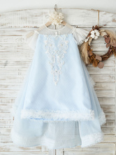 Flower Girl Dresses Jewel Neck Tulle Knee-Length Princess Silhouette Lace Kids Social Party Dresses