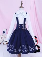 Lolita Overall Skirt SK Blue Whale Voyage Print Bows Lolita Skirts