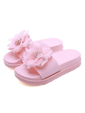 Women's Slippers Pink PVC Upper Round Toe Slip-On Flower Beach Sandals