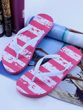 Sandália Slippers Rose PU Couro Impresso Chic sandália Praia Flip Flops