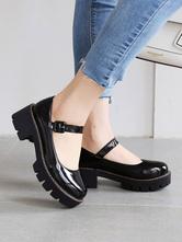 Lolita Shoes Black PU Leather Puppy Heel Lolita Pumps