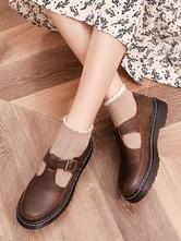 Klassische Lolita Schuhe Round Toe PU Lolita Pumps aus Leder