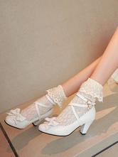Sweet Lolita Footwear Weiße Schleifen PU Leder Prisma Absatz Lolita Schuhe
