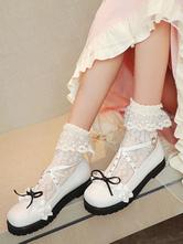 Sweet Lolita Footwear Weiße Rüschen Schleifen Nieten Round Toe PU Leder Lolita Pumps