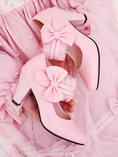 Sweet Lolita Footwear Bows PU Leder Prisma Absatz Lolita Pumps